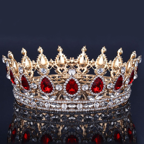 Corona nupcial de lujo Rhinestone Cristales Coronas de boda real Princesa Cristal Accesorios para el cabello Fiesta de cumpleaños Tiaras Quinceaner dulce 16