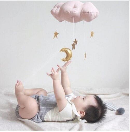 Adorável bebê lua de algodão móvel e estrela tenda de parede pendurado decoração toys estilo nordic berçário decoração foto adereços crianças quarto decoração