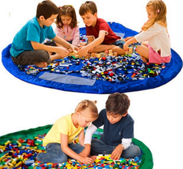 60pcs juego bolsa de almacenamiento de juguete Manta de almacenamiento de juguetes portátil bolsa de manta de diámetro Cajas Rug juega al organizador de picnic al aire libre 150cm 100pcs