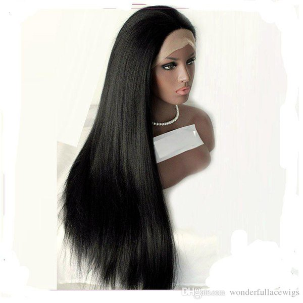 Peruca Dianteira Do Laço sintético Yaki Reta Natural Linha fina Do Laço Frontal Perucas Naturais das Mulheres Negras Médio Longo Cabelo Sintético