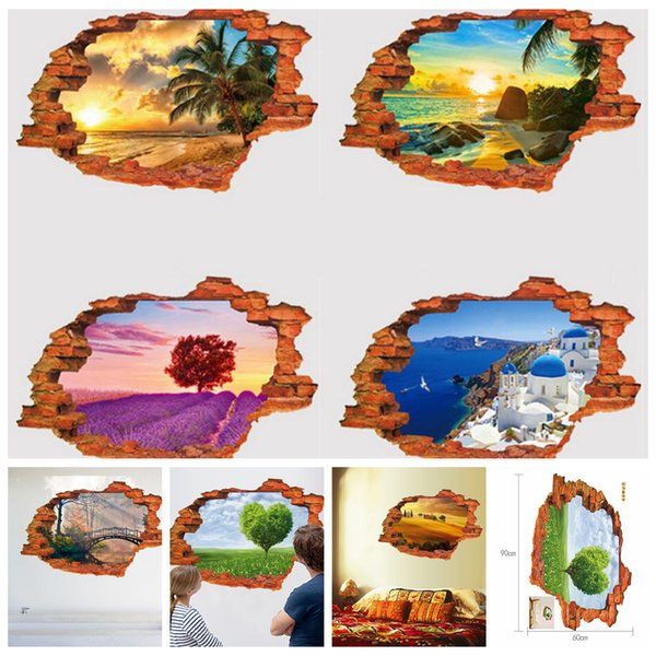 7styles Creative 3D Scenery Wall Sticker Decals Self Adhesive Mural Home Decors DIY Wall Stickers Three Dimensional Mural Poster FFA666