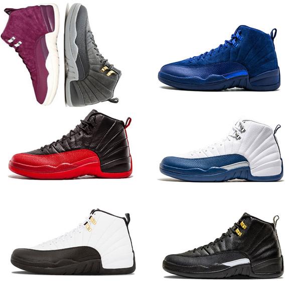 2018 Mens shoe 12 Basketball shoes Bordeaux Dark grey Royal BluetaxI flu French Blue Game gamma blue Playoff size 7-13