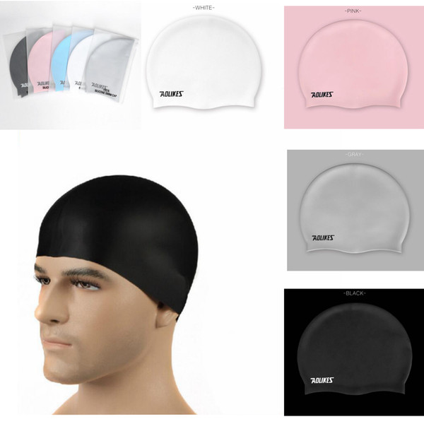 Unisex Waterproof Silicon Swimming Cap Adult Flexible Swimming Head Cover Protect Ear Swim Caps Pool Bath Hat EEA447 30pcs