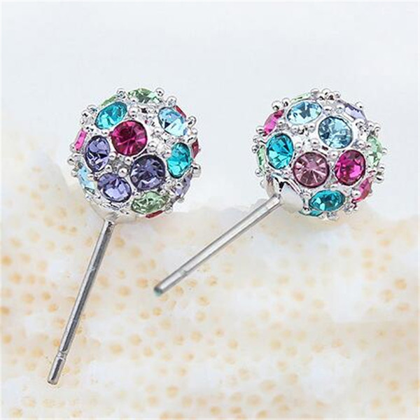Earrings Crystal Disco Ball Shambala Stud Earrings Women Gift Fashion Jewelry Accessories Party Gift 13727