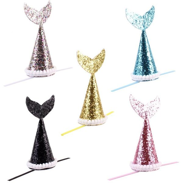Cute Sequins Pet Hair Clips Mermaid Tail Shaped Dog Headband Pure Colors Puppy Hat For Birthday Party Decor 5 8my BB
