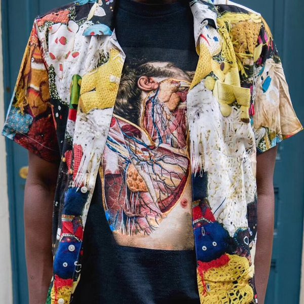 18FW week3 Mike Kelley hours rayon shirt Men Women Summer Cool Beach T-shirt Vintage Casual High-end Street Holiday Tee HFLSCS012