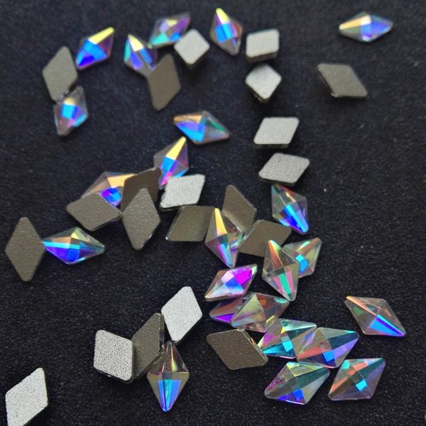 12Pcs 5x8,3x6,6x10mm 2562 Cristal AB Strass Nacre Strass, Dos Plat Non Hotfix Glitter Pierres, Phones Décorations
