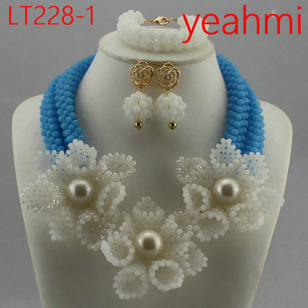 Hot New Bridal Jewelry Sets Red Nigerian Wedding African Beads Jewelry Set Crystal Fashion Gift Neckalce Free Shipping LT228-2