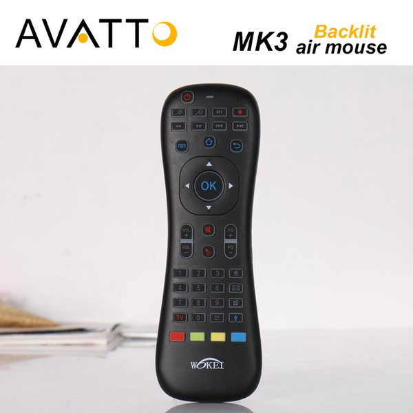 [AVATTO] MK3 Retroilluminato Micphone Air Mouse 2.4G Wireless IR Learning Voice mini tastiera telecomando per Smart tv / Android Box / PC
