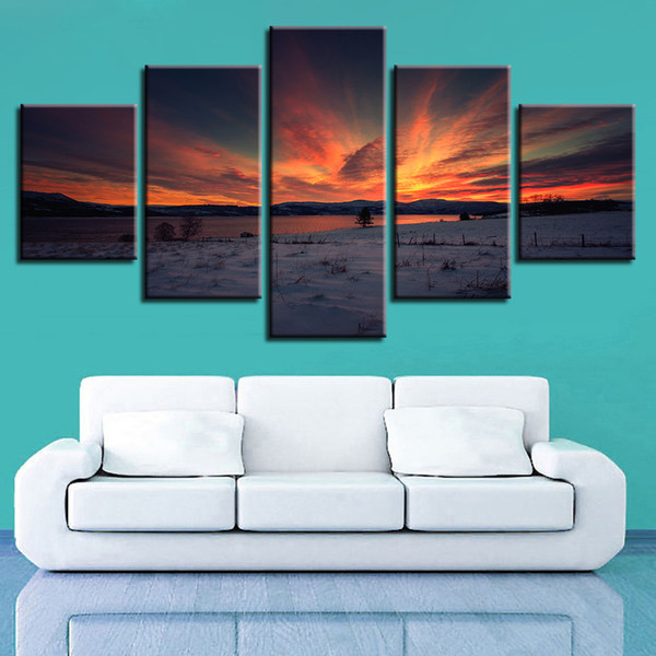Wall Painting Framework Art HD Print 5 Pieces Lake And Mountain Sunset Dusk Scenery Canvas Pictures Modular Poster Decor Bedroom