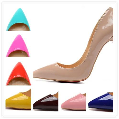 Women's 12cm High Heels 14 Colors Patent Leather Pointed Toe Fashion Pumps, Ladies Luxury Design Red Bottom Wedding Party Sexy Dress Shoes
