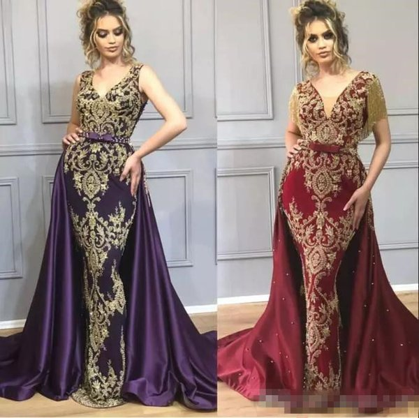 Burgundy Mermaid Prom Pageant Dresses with Overskirt 2019 Luxury Gold Beaded Applique Tassel Indian Dubai Arabic Occasion Evening Gown