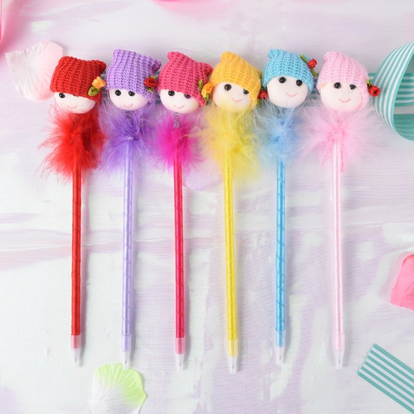 1PC Kawaii Dolls Head Feather Ball Pen Student Stationery Ballpoint Pens Papelaria Gift Office Material School Supplies 0.5mm