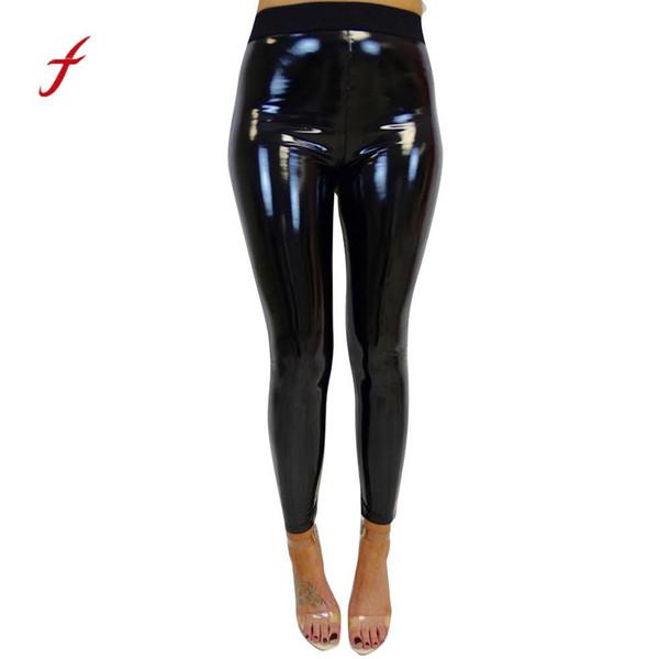 Womens Lady Strethcy Shiny Sporting Leggings Black Trouser Pants Bottoms Fitness Exercise Pants Trouser pantalon mujer
