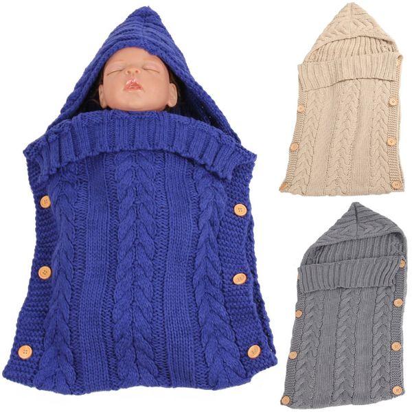 Lana Crochet Baby Girl Ricezione Coperte Solido neonato Swaddling Asciugamano Infant Wrap Sacco a pelo Ragazzi Busto Busta SleepSack Robe