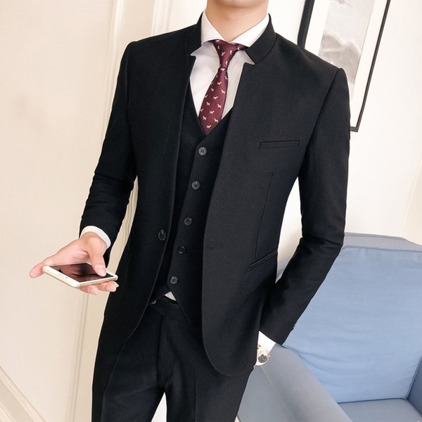 Mandarin Collar Suit Men Slim Fit Solid Blackstand Colllar Design Smoking Homme Mariage Men Suit Business Tuxedos Groom