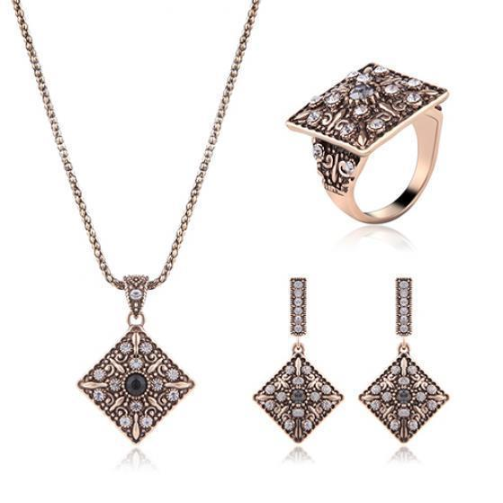 Vintage Lady Antique Square Rhinestone Inlaid Necklace Dangle Earrings Ring Set