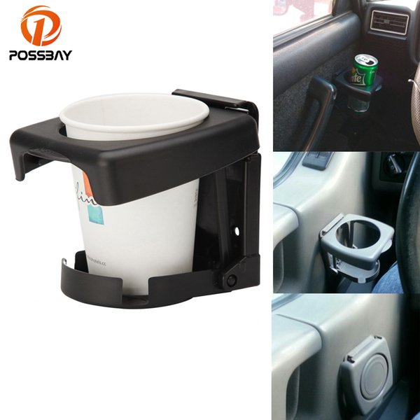 POSSBAY Black/Gray Car Cup Holder Multi-functional Mount Stand Holders Folding Auto Supplies Cup for Drink Water Bottle Coffee