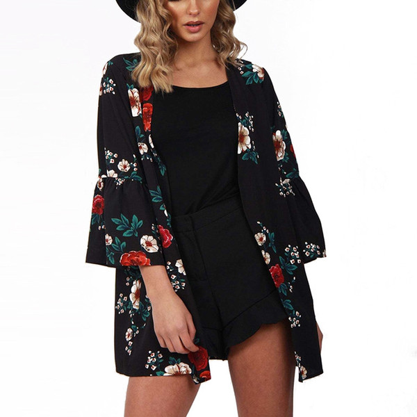 62804e13fa409 Women Casual Vintage Three Quarter Flare Sleeve Cardigan Ladies 2018 Summer  Long Chiffon Kimono Loose Flora Printed Blouse Tops Black Leather Jacket ...