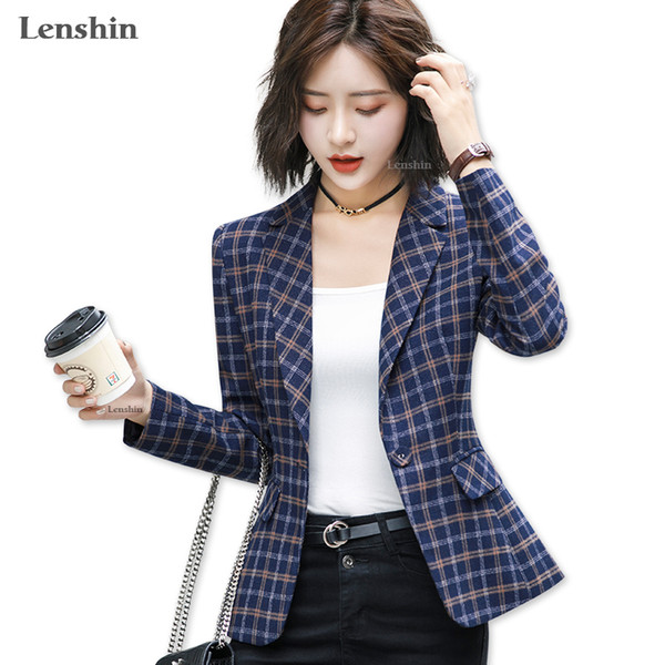 Lenshin Soft and Comfortable High-quality Plaid Jacket with Pocket Office Lady Casual Style Blazer Women Wear Coat L18101301