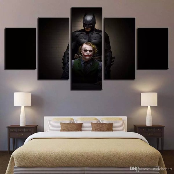 Wall Art Poster Home Decor Modern 5 Panel Batman Clown For Living Room Canvas HD Modular Painting Print Pictures Framed