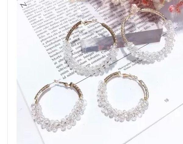 noble zircon diamond crystal beads circle 925 silver women's earings
