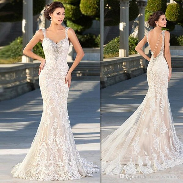 Zuhair Murad Mermaid Wedding Dresses Sexy Spaghetti Beaded Lace Appliques Low Back Sweep Train Trumpet Tulle Dress for Bridal Plus size