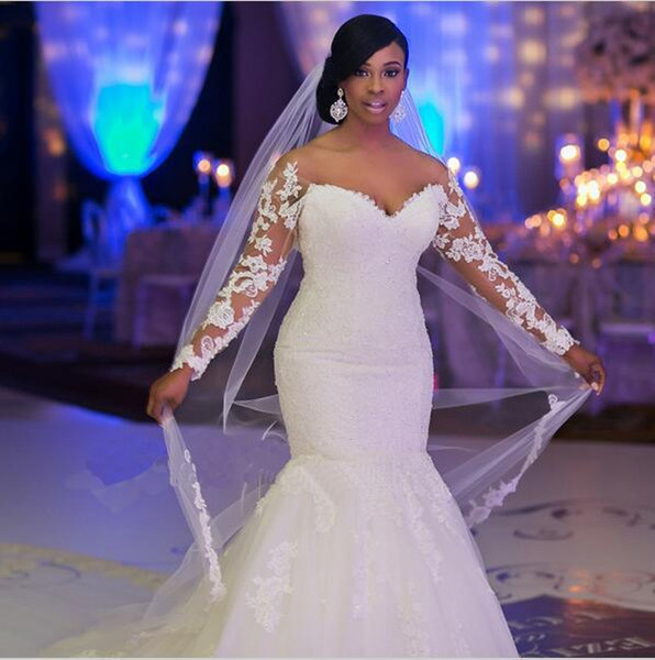 Plus Size Korean Luxury Lace Wedding Dresses Sexy V-Neck Mermaid Gown Dress Pregnant women wedding dresses Long Sleeve W16