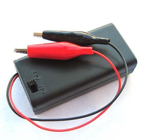 UPS DHL FEDEX libre 500pcs 2AA paquetes de batería con la cubierta @ Swtich + pinzas de cocodrilo 26AWG rojo / negro de alambre 15 cm