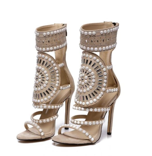 061b5ea94f414 Roman Stylish High Heel Sandals For Women Women New Rivet Beads Rhinestone  Genuine Leather Open Toe Strappy Sandals Women'S Sandals Loafers For Women  ...