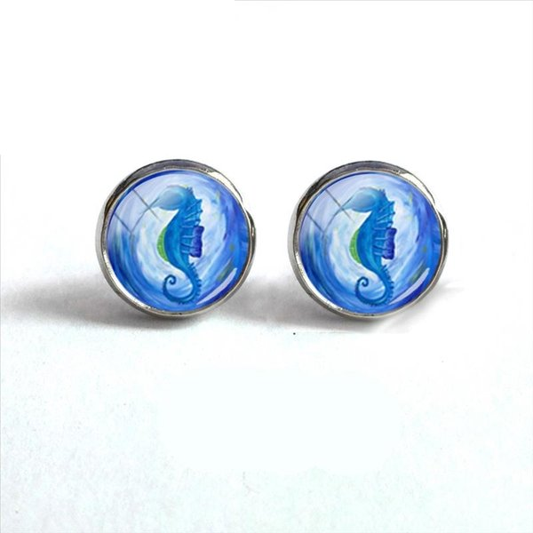 2018 New Seahorse And Shell Earring Art Photo Glass Dome Cabochon Earrings Silver Hand Craft Jewelry Ear Studs Women