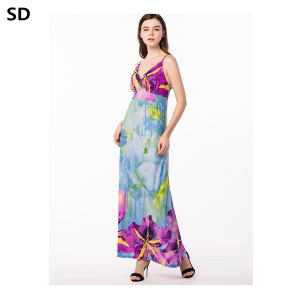 Mulheres sd boho beach dress 2018 moda vintage com decote em v vestido de festa vestidos de festa senhoras elegante robe feminino casual vestidos w45