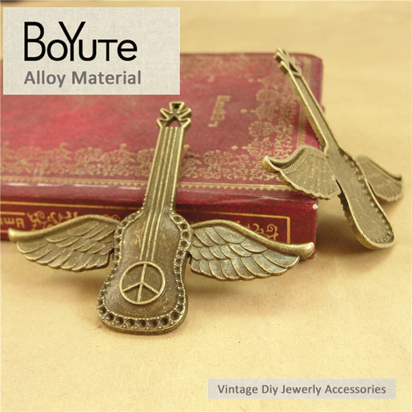 BoYuTe (20 Pieces/Lot) 54*63MM Charms Flying Wings Guitar Antique Brozne Plated Zinc Alloy Pendant for Jewelry Accessories Diy Hand Made
