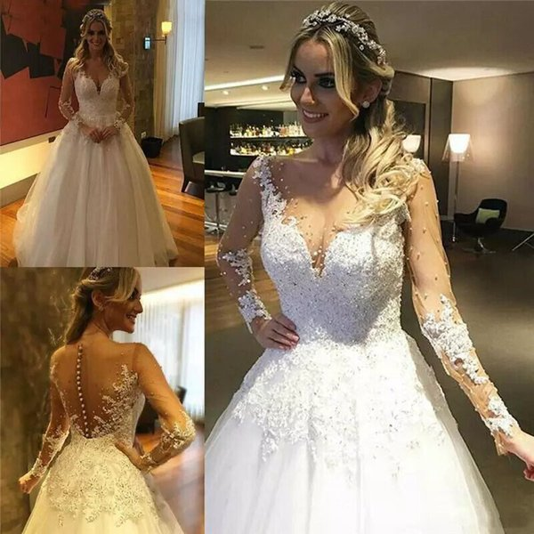 Discount 2018 Modern Lace Wedding Dresses With Pearls Beads Tulle ...