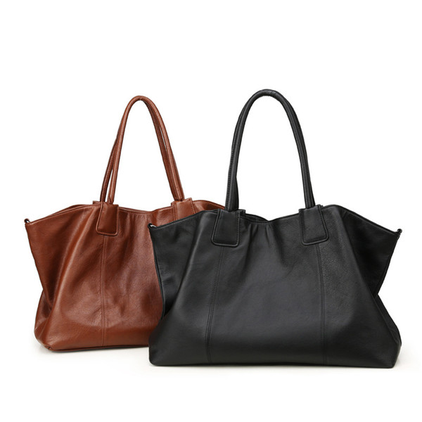 fashion simple size increase size mother bag fashion europe america soft face genuine leather female tote bag leather shopping