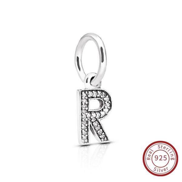 Lettera R autentici gioielli in argento sterling 925 cristallo A-Z Charms ciondolo lettera misura per fai da te originale collana di bracciale 791330CZ