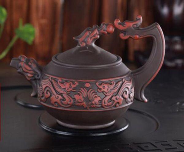 Raro drago cinese realistico fatto a mano di yixing zisha Teiera in argilla viola