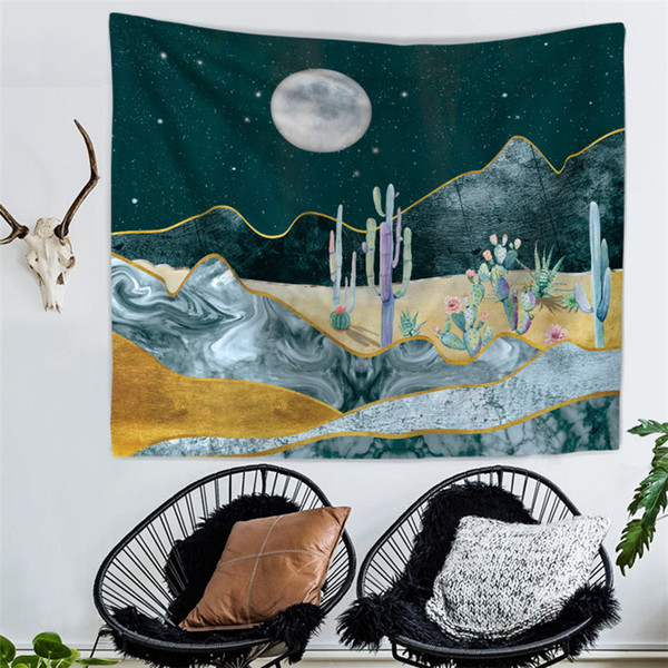 Wholesale 1 PCS 150X130cm Night Cactus Wall Tapestry Hanging Cloth Bedroom Background Decor Beach Towel Table Cloth