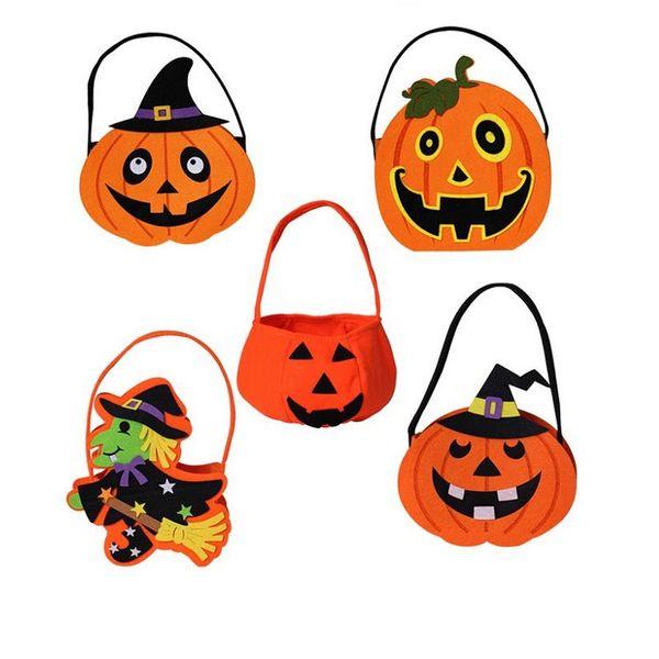 6b62006cfd Halloween DIY Pumpkin Candy Bag Tote Bucket Basket Halloween Ornament Decor  Props Party Festival Children Kids Fun Gift Bags