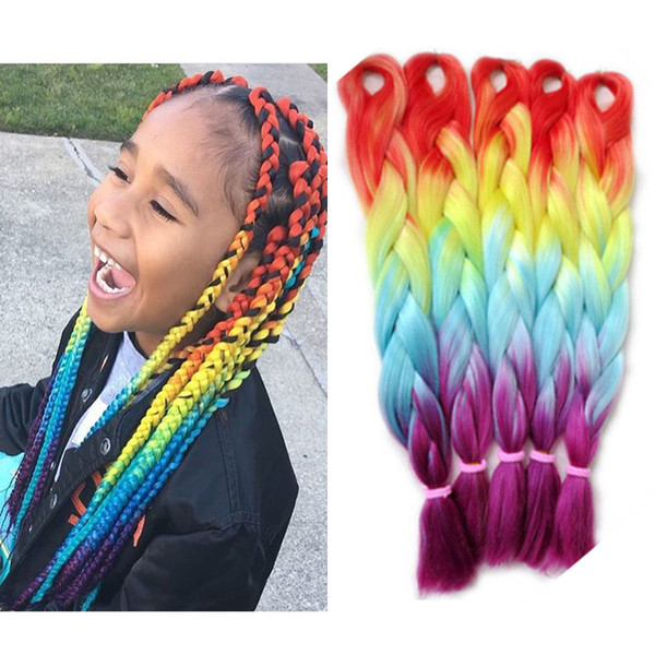 "Orange Yellow Blue Purple Ombre Braiding Hair Four Tone Colors Kanekalon Synthetic Braids Hair for Your Princess Wholesale Price 24"" 100g"