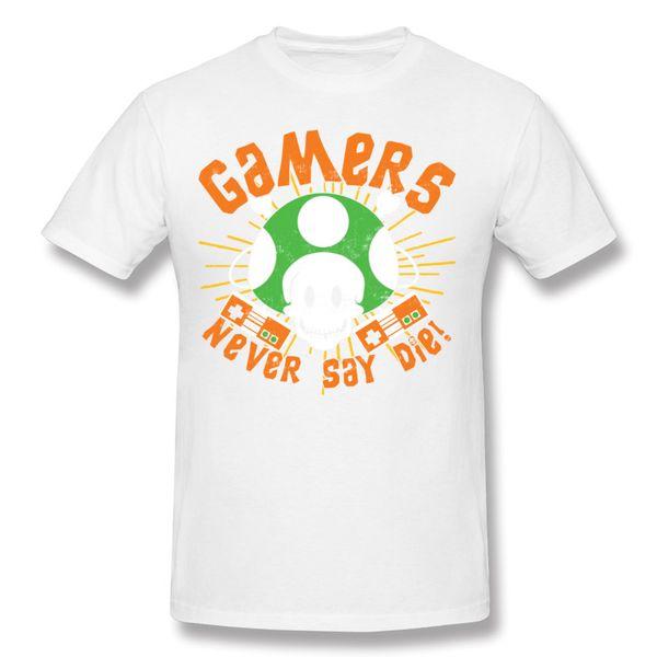 Mix Order Men's Percent Cotton Gamers Never Say Die T-Shirts Men's Crewneck Orange Short Sleeve T Shirt Plus Size Unique T-Shirts