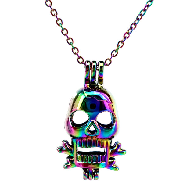 C220 Rainbow Color Skull Bone Punk Beads Cage Pendant Essential Oil Diffuser Aromatherapy Pearl Cage Locket Pendant Necklace