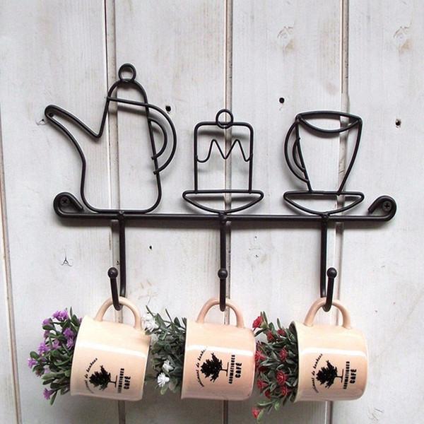 Hot Sale Creative Iron Hook Garden Home Decoration Cartoon Cup Shape Hat Rack Clothes Hanger Black Fashion Iron Ear Clasp 1 Pcs