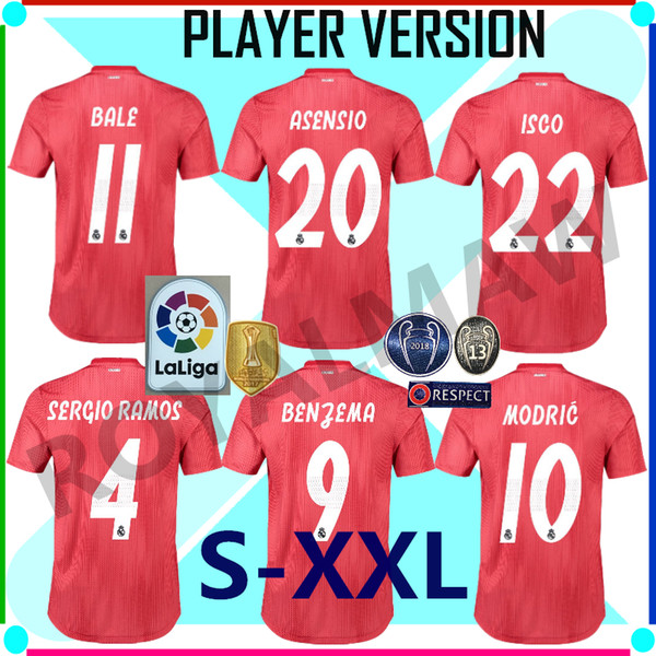 Real Madrid Jersey 2019 Third Red Player Version Away Soccer Shirt Match Game Football RMCF Tercera EQUIPACIÓN Camiseta Maillot Maglia 1819