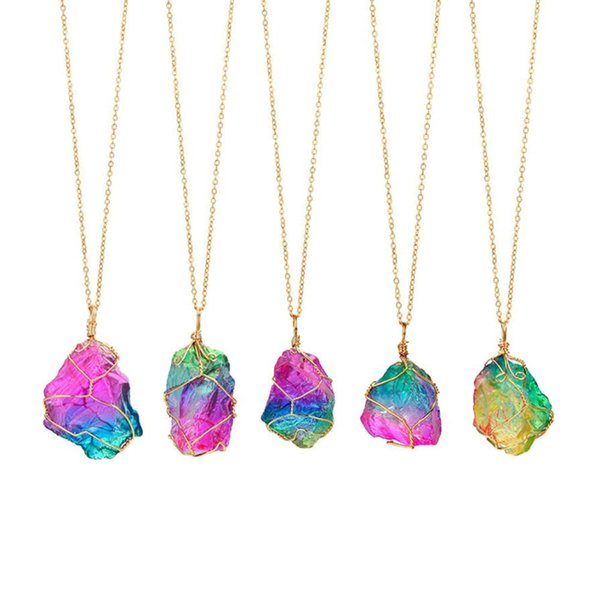 Rainbow Stone Natural Crystal Rock Necklace Gold Quartz Pendant choker necklaces for women sexy necklace