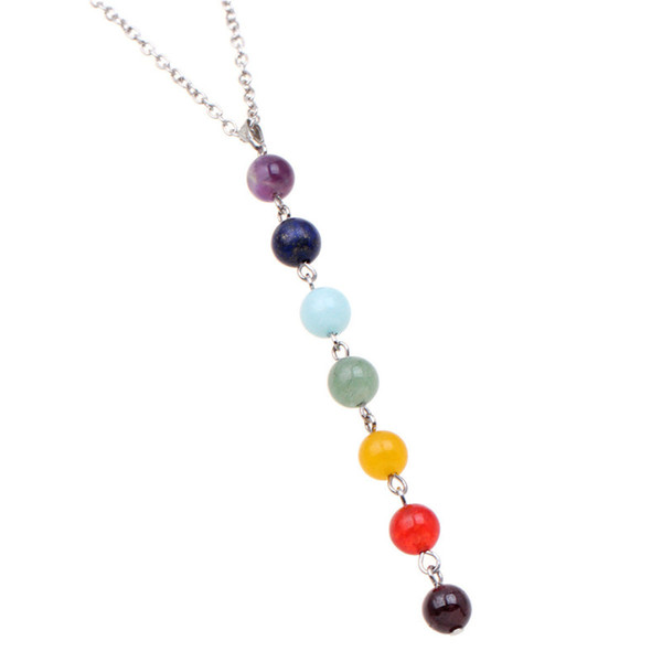gem stone beads necklace & pendant for women chakra yoga reiki healing balancing necklaces on the neck charms jewelry decoration, Silver