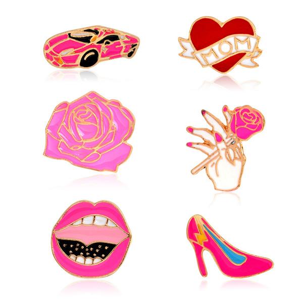 Cartoon Cute Love Mom Heart Car Rose flower brooch Red Lip High Heel Shoe Metal Brooches Pins Button Pins Girl Gift drop shipping