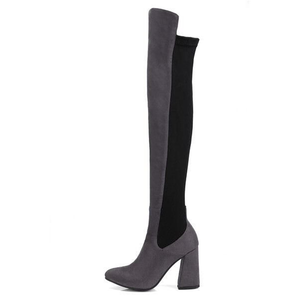 Fashion Womens Ladies Patchwork Zip Thigh-High Boots Shoes Sexy Over The Knee Boots FS-B808 Chunky Heel Size Customized By Favoshoes