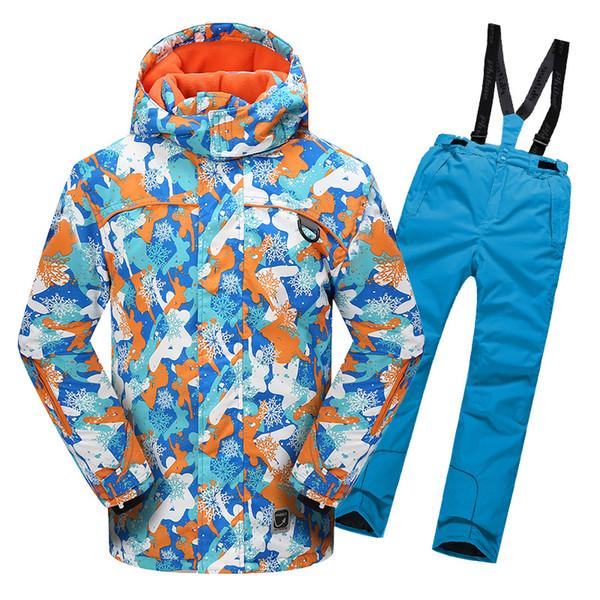 Boys Girls Ski Jacket Suit Waterproof Windproof Ski Snowboard Kid Warm Thermal Hooded Fleece Inside Little Children Clothing Set