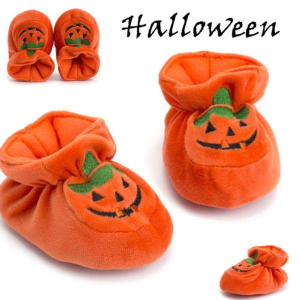 New Lovely Infant Toddler Baby Boy Girl Halloween Pumpkin Prewalker Soft Sole Flocks Shoes First Walkers Warm Shoes